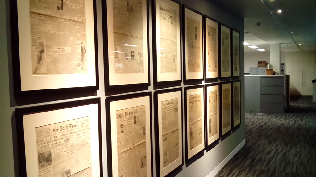 Irish Times framed newspapers editions