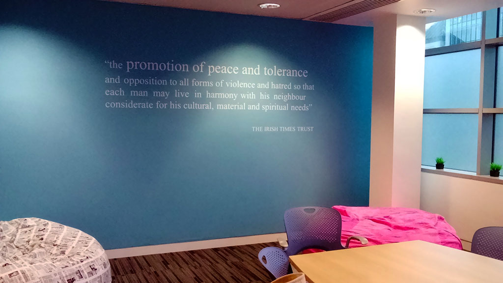 Promotion of peace and tolerance Irish Times